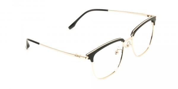 Wayfarer Black & Gold Browline Glasses - 2