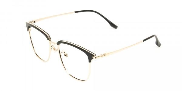 Wayfarer Black & Gold Browline Glasses - 3