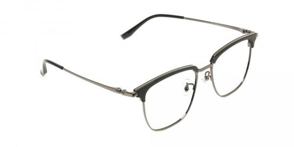 Wayfarer Black & Gunmetal Browline Glasses - 2