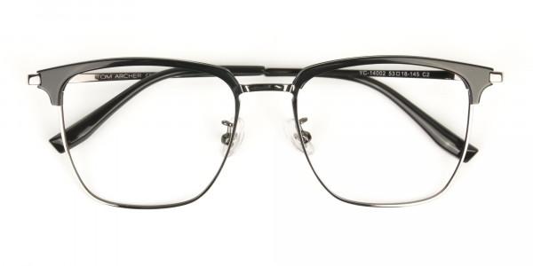Wayfarer Black & Gunmetal Browline Glasses - 7