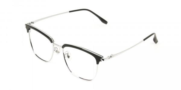 Wayfarer Black & Silver Browline Glasses - 3