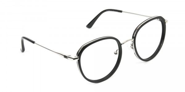 Metal Silver and Black Thick Round Frame Glasses - 2