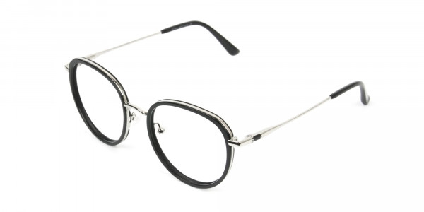 Metal Silver and Black Thick Round Frame Glasses - 3