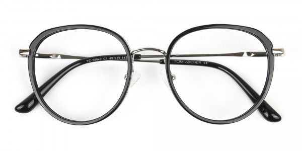 Metal Silver and Black Thick Round Frame Glasses - 7