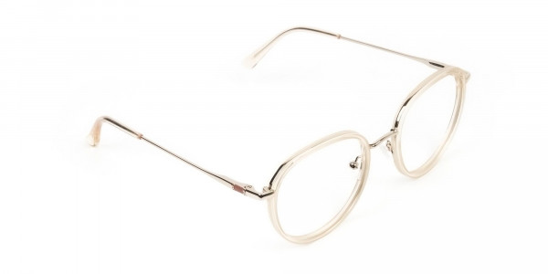 Rose Gold Thick Metal Round  Glasses - 2