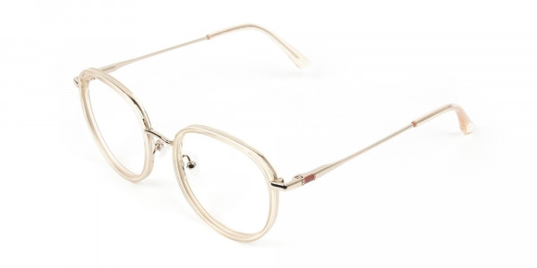 Rose Gold Thick Metal Round  Glasses - 3