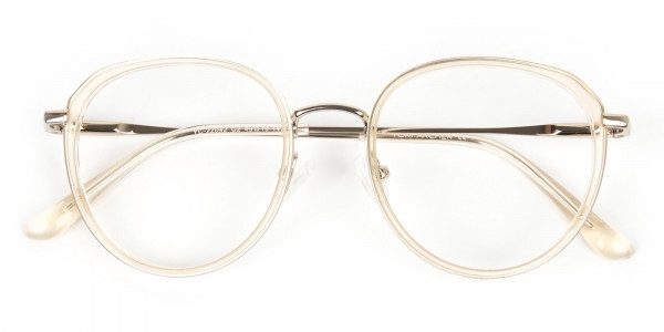 Rose Gold Thick Metal Round  Glasses - 7