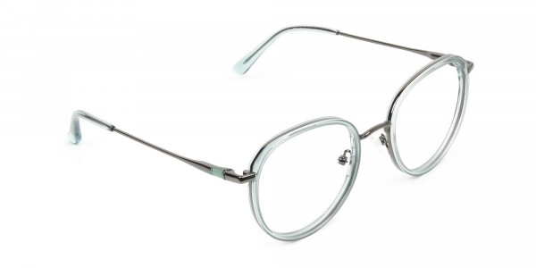 Gunmetal and Translucent Powder Blue Thick round Frame glasses -2