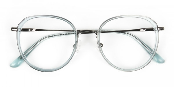 Gunmetal and Translucent Powder Blue Thick round Frame glasses - 7