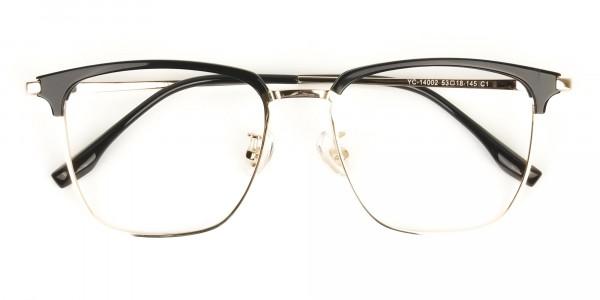 Wayfarer Black & Gold Browline Glasses - 7
