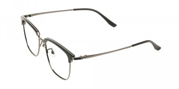 Wayfarer Black & Gunmetal Browline Glasses - 3