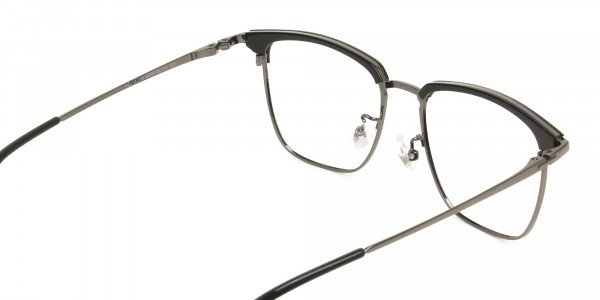 Wayfarer Black & Gunmetal Browline Glasses - 5