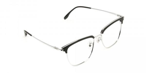 Wayfarer Black & Silver Browline Glasses - 2