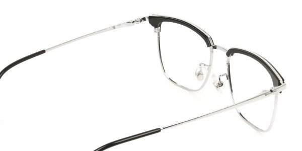 Wayfarer Black & Silver Browline Glasses - 5