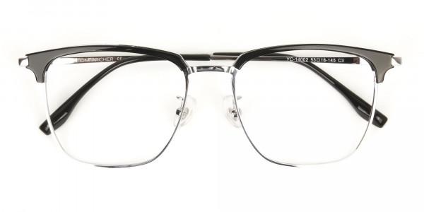 Wayfarer Black & Silver Browline Glasses - 7