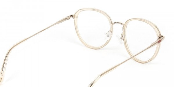 Rose Gold Thick Metal Round  Glasses - 5