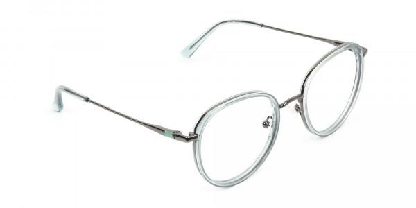 Gunmetal and Translucent Powder Blue Thick round Frame glasses -2