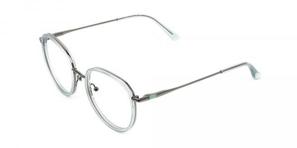 Gunmetal and Translucent Powder Blue Thick round Frame glasses- 3