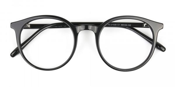 Black Thin frame glasses in Round - 6