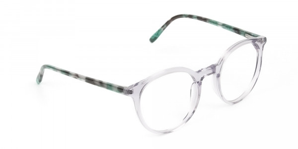 Crystal Grey and Teal Tortoise Glasses in Round - 2