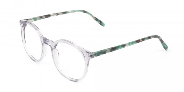 Crystal Grey and Teal Tortoise Glasses in Round - 3