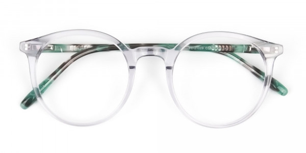 Crystal Grey and Teal Tortoise Glasses in Round - 6