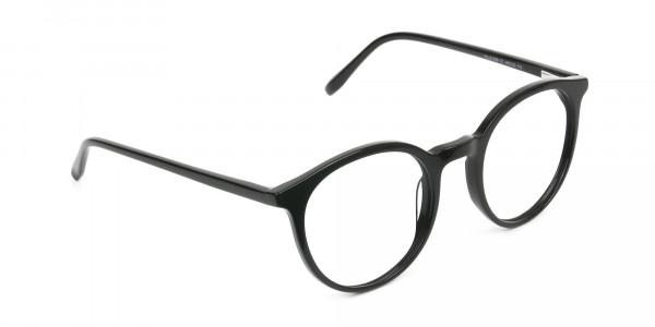 Black Thin frame glasses in Round - 2