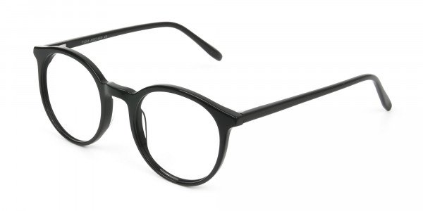 Black Thin frame glasses in Round - 3