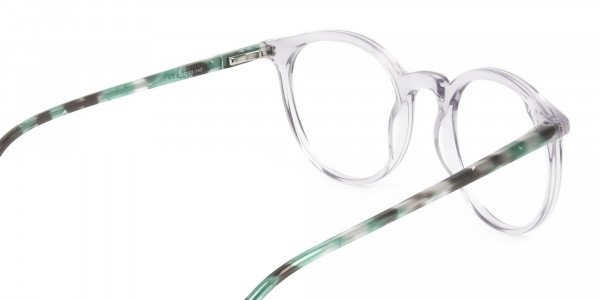Crystal Grey and Teal Tortoise Glasses in Round - 5