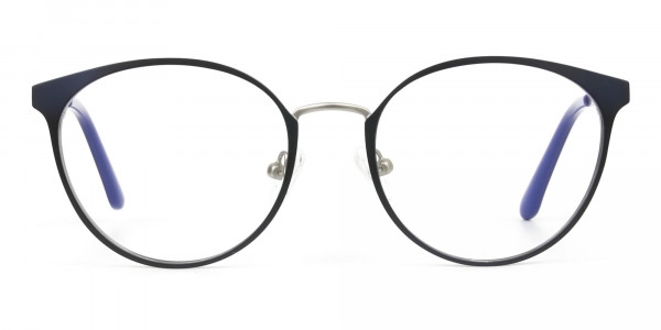 Navy Blue and Silver Round Glasses Frames Men Women  - 1