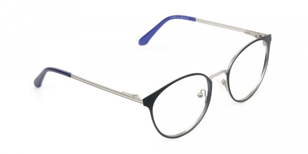 Navy Blue and Silver Round Glasses Frames Men Women  - 2