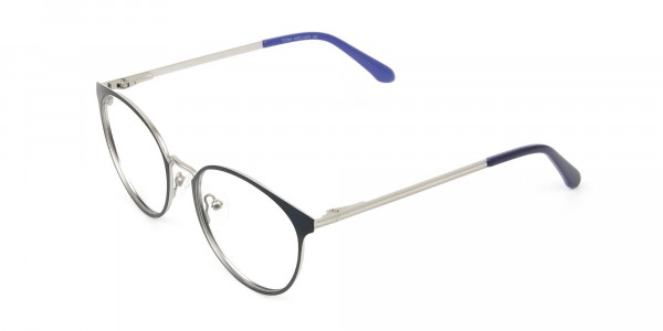Navy Blue and Silver Round Glasses Frames Men Women  - 3