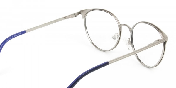Navy Blue and Silver Round Glasses Frames Men Women - 5