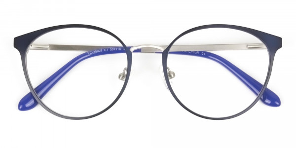 Navy Blue and Silver Round Glasses Frames Men Women - 6