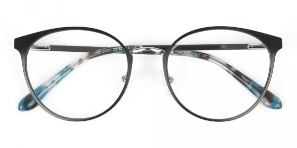 Silver Black Metal Glasses in Round Men Women - 6