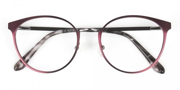 Purple Burgundy Red Gunmetal Round Glasses Men Women- 6