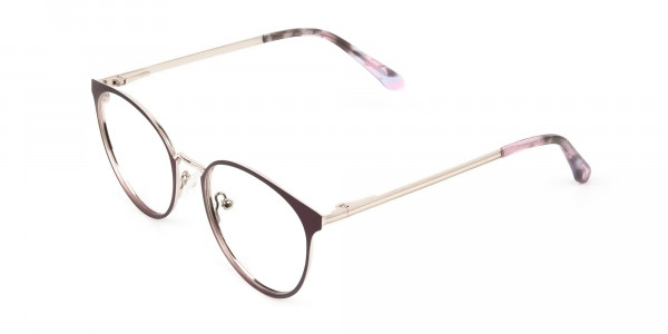 Silver Burgundy Red Spectacle Frames in Round  - 3