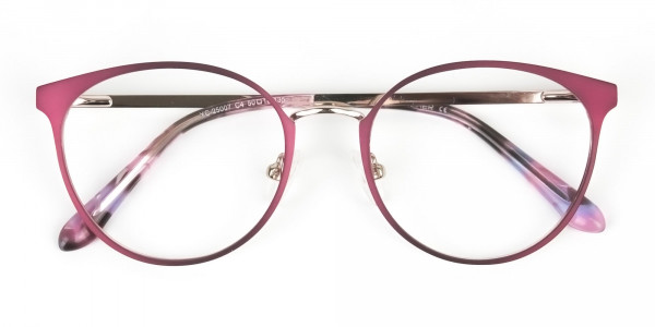 Silver Burgundy Red Spectacle Frames in Round - 6