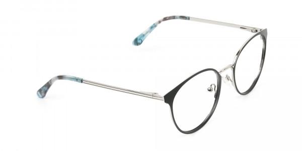 Silver Black Metal Glasses in Round Men Women - 2