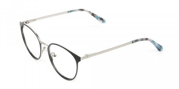 Silver Black Metal Glasses in Round Men Women- 3