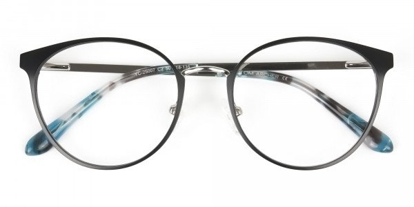 Silver Black Metal Glasses in Round Men Women - 6