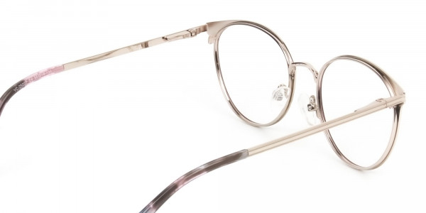 Silver Burgundy Red Spectacle Frames in Round - 5