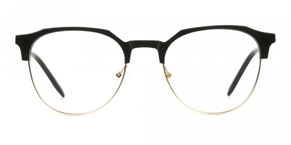 Mixed Material Round Black & Gold Clubmaster Glasses Men's Women's - 1