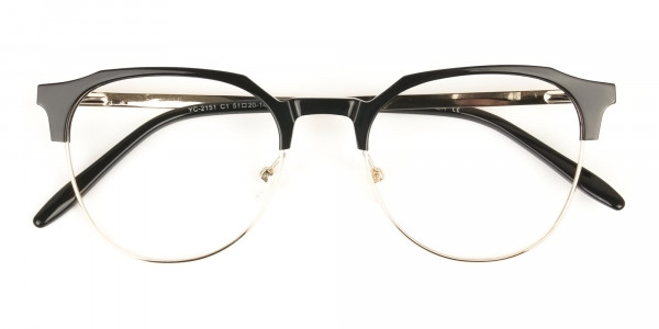 Mixed Material Round Black & Gold Clubmaster Glasses Men's Women's - 6