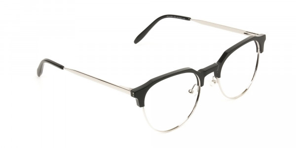 Clubmaster Eyeglasses in Black and Silver Round Frame - 2