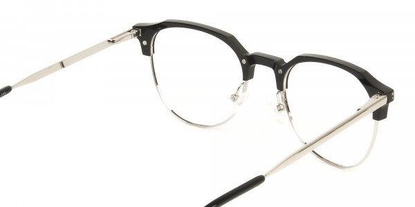Clubmaster Eyeglasses in Black and Silver Round Frame - 5