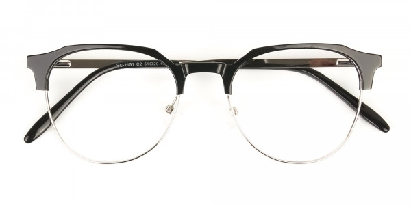 Clubmaster Eyeglasses in Black and Silver Round Frame - 6