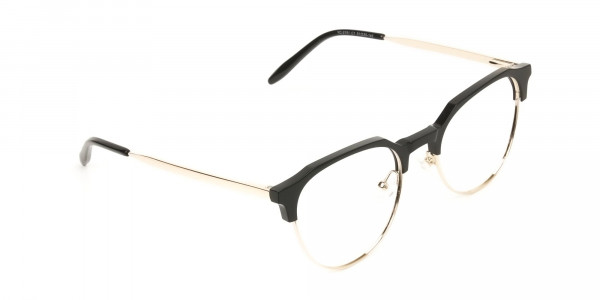 Mixed Material Round Black & Gold Clubmaster Glasses Men's Women's - 2