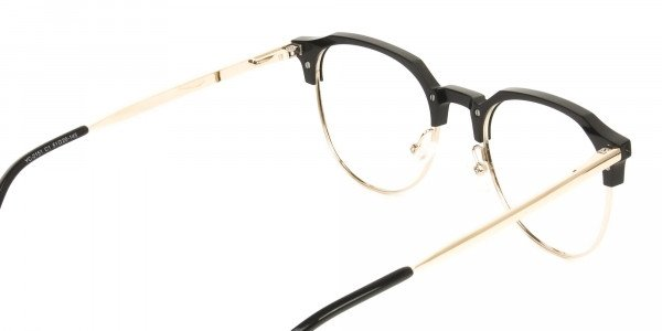 Mixed Material Round Black & Gold Clubmaster Glasses Men's Women's - 5