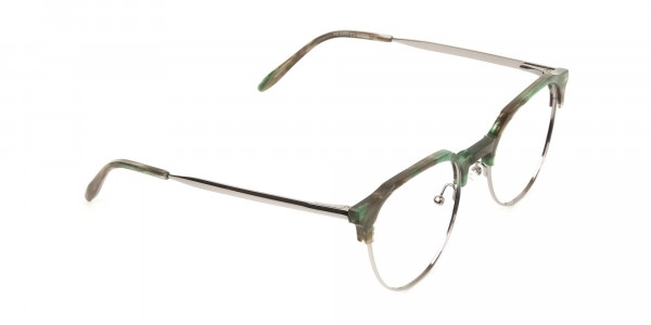 Silver & Marble Jade Green clubmaster classic glasses - 2